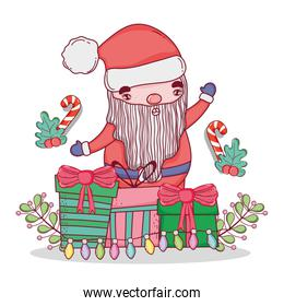 santa claus with candy cane and branches leaves