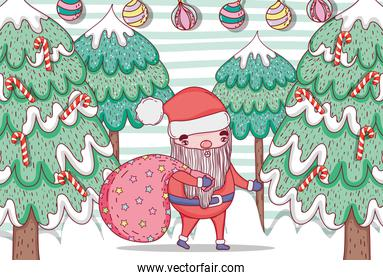 santa claus with pine tree and balls