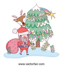 santa claus with pine tree and deer