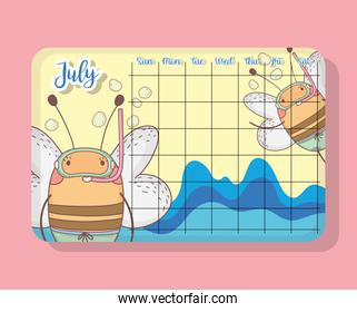 july calendar with bees cute animal