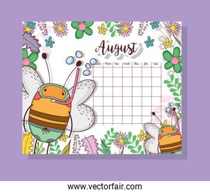 august calendar with cute bees animal