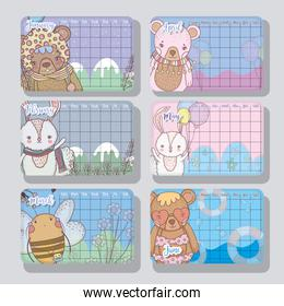 calendar information with cute animals style