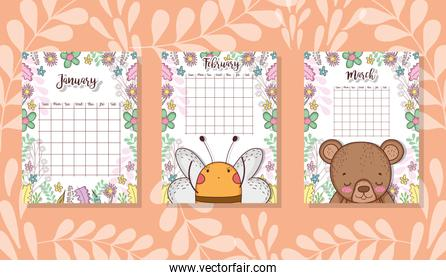 cute calendar with animals and flowers