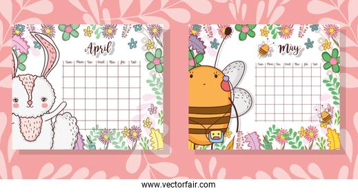 calendar with cute animal and flowers plants