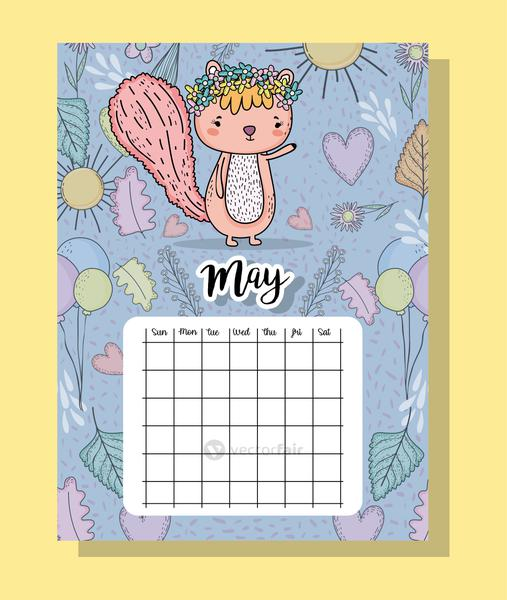 may calendar information with squirrel and flowers