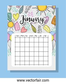 january calendar information with flowers and leaves