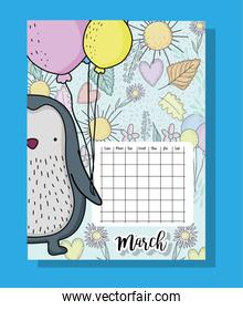 march calendar information with penguin and flowers
