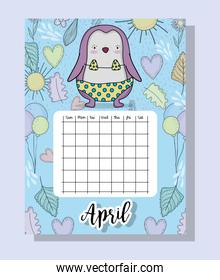 april calendar information with penguin and flowers