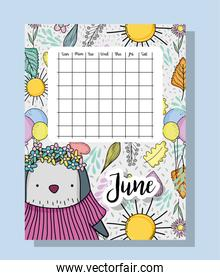 june calendar information with penguin and flowers