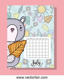 july calendar information with squirrel and flowers