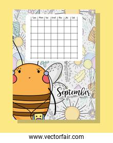 september calendar information with bee and flowers