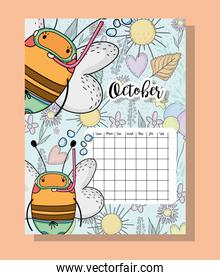 october calendar information with bees and flowers