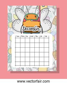 december calendar information with bee and flowers