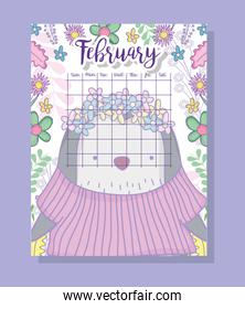 february calendar information with penguin and plants
