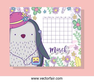 march calendar information with penguin and plants