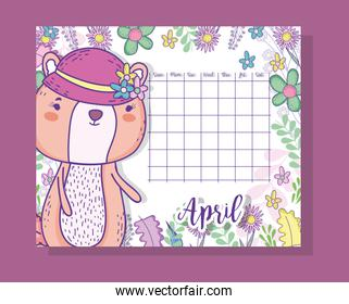 april calendar information with squirrel and plants