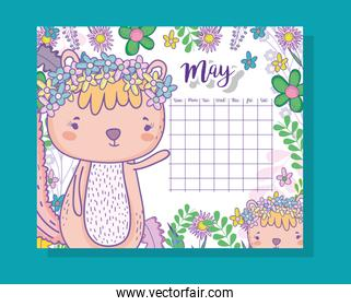 may calendar information with squirrel and plants