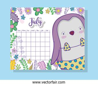 july calendar information with penguin and plants