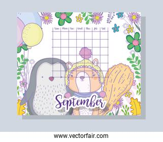 september calendar information with penguin and squirrel