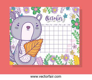 october calendar information with squirrel and plants