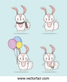 set rabbit cute animal with balloons and scarf