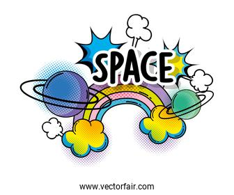 rainbow with clouds and plants to space patch