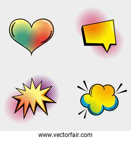 set heart with chat bubble and star with cloud patch