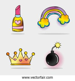 set lipstick and rainbow with clouds and bomb with crown