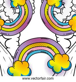 rainbow with clouds to fashion patch background