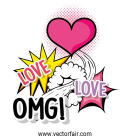 heart love with omg patch message