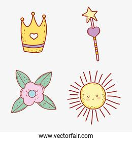 set crown with star magic wand and flower