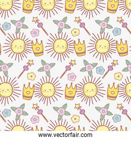 cute sun with star magic wand and flower background