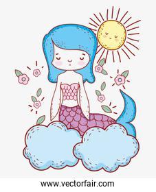 mermaid woman with sun and flowers leaves