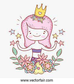 mermaid woman wearing crown with stars and flowers