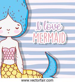 magic mermaid woman with hairstyle and tail