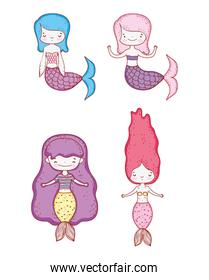 set beauty mermaids women with tail and hairstyle