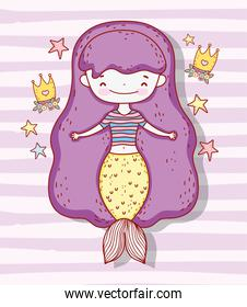 cute mermaid woman with crown and stars