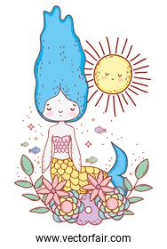 mermaid woman with flowers plants and sun