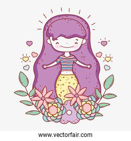 mermaid woman with hearts and flowers plants