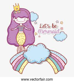 mermaid women wearing crown in the rainbow with clouds