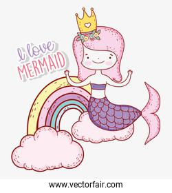 cute mermaid wearing crown with rainbow and clouds