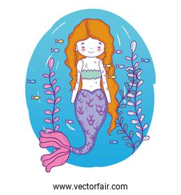 mermaid woman underwater with fishes and plants