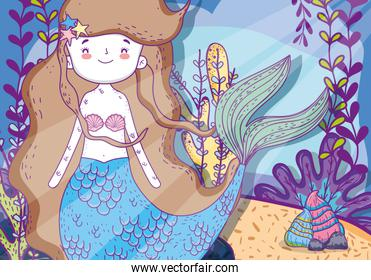 beauty mermaid woman with plants leaves