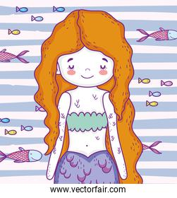 cute mermaid woman with hairstyle and fishes