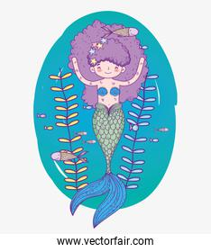 mermaid woman underwater with fishes and plants leaves