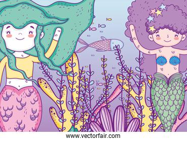mermaids women underwater with fishes and plants