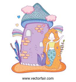 mermaid woman and castle with clouds and rainbows