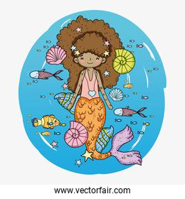 mermaid woman with shells and fishes with snails