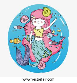 mermaid woman underwater with shells and snails
