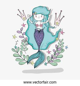 mermaid woman with crowns and plants leaves